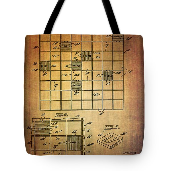 First Scrabble Game Board Patent From 1956  Tote Bag