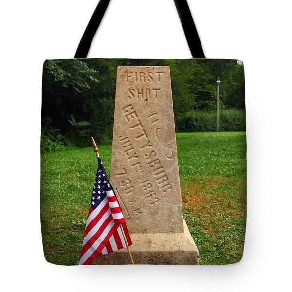 First Shot Monument Gettysburg Tote Bag by James Brunker