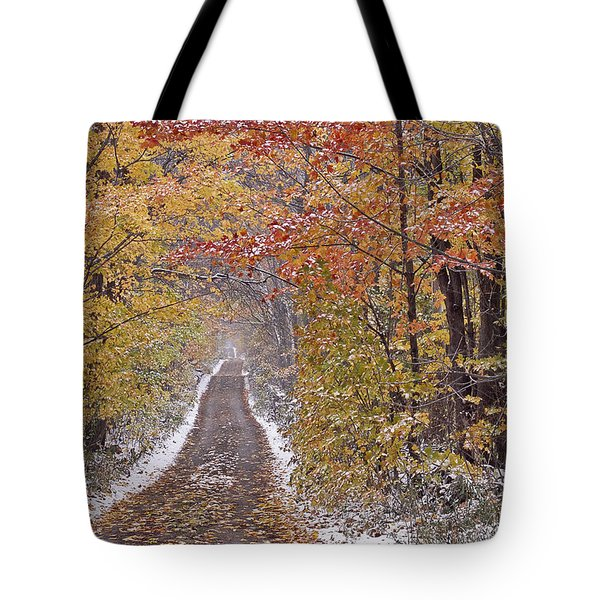 Tote Bag featuring the photograph First Snow by Alan L Graham