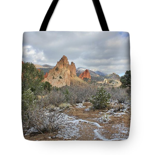 First Snow At Garden Of The Gods Tote Bag by Diane Alexander