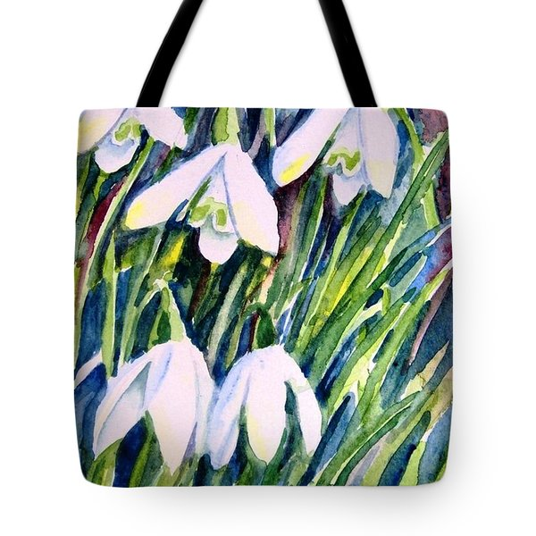 Tote Bag featuring the painting First Snowdrops Of Winter  by Trudi Doyle