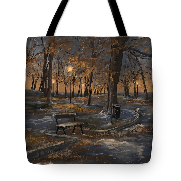 First Snowfall Tote Bag by Veronica Minozzi