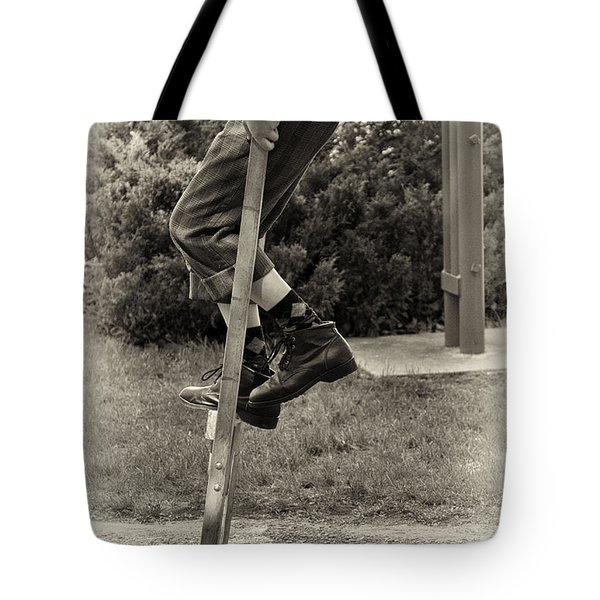 First Time On Stilts At White Pine Village In Ludington Michigan Tote Bag