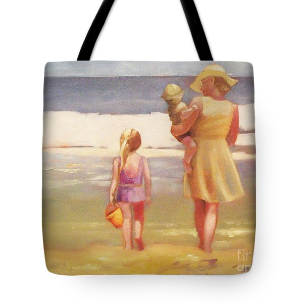 First Waves Beach Waves With Children And Mom  Tote Bag
