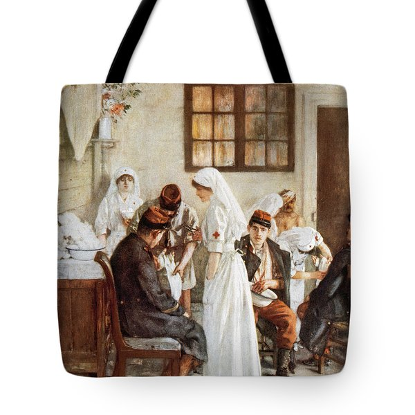 First Wordl War. Nurses With Wounded Soldiers. Poitiers Tote Bag