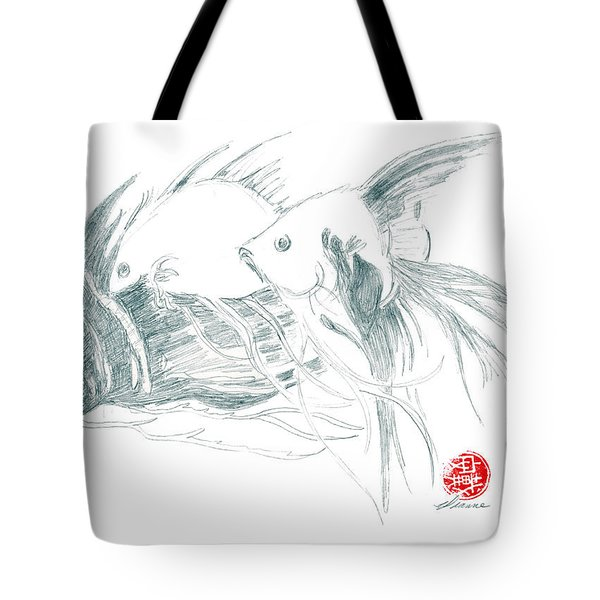 Tote Bag featuring the drawing Fish by Dianne Levy