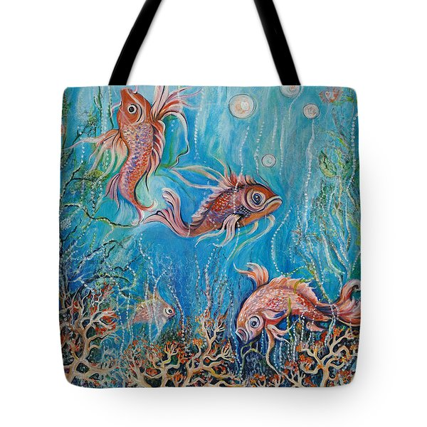 Fish In A Pond Tote Bag by Yolanda Rodriguez