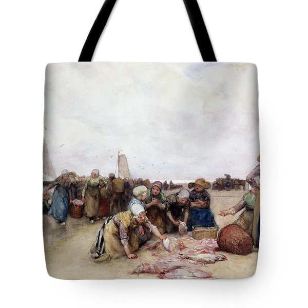 Fish Sale On The Beach  Tote Bag by Bernardus Johannes Blommers