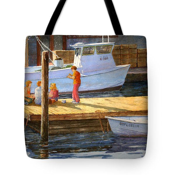 Fish Tales At Cortez Tote Bag by Roger Rockefeller