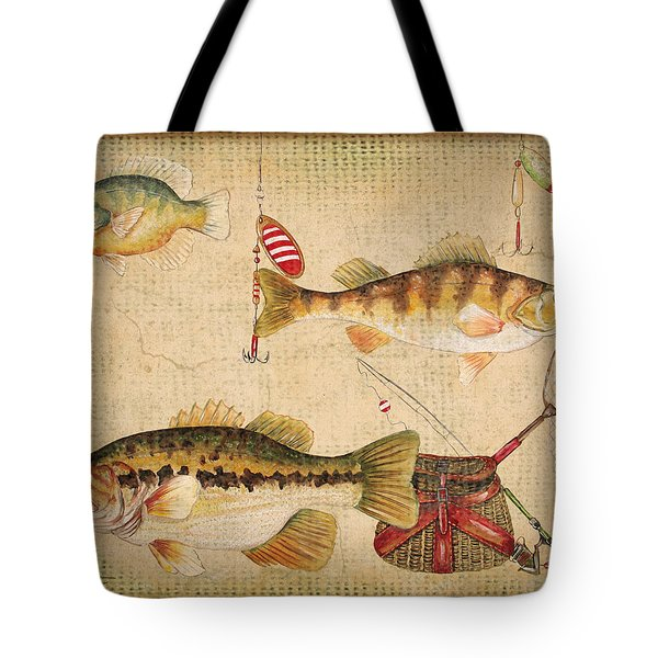 Fish Trio-a-basket Weave Border Tote Bag by Jean Plout