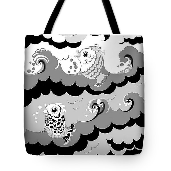 Tote Bag featuring the digital art Fish Waves by Carol Jacobs