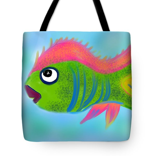 Tote Bag featuring the digital art Fish Wish by Christine Fournier