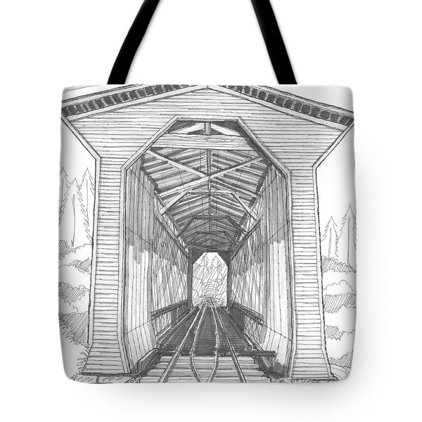 Tote Bag featuring the drawing Fisher Railroad Covered Bridge by Richard Wambach