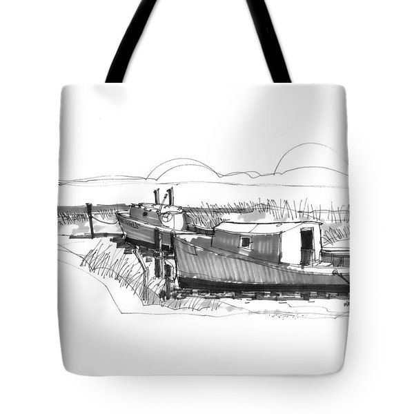 Tote Bag featuring the drawing Fishers At Rest Ocracoke Nc 1970s by Richard Wambach