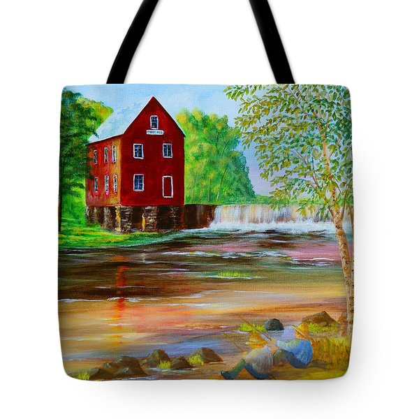 Fishin' At The Old Mill Tote Bag