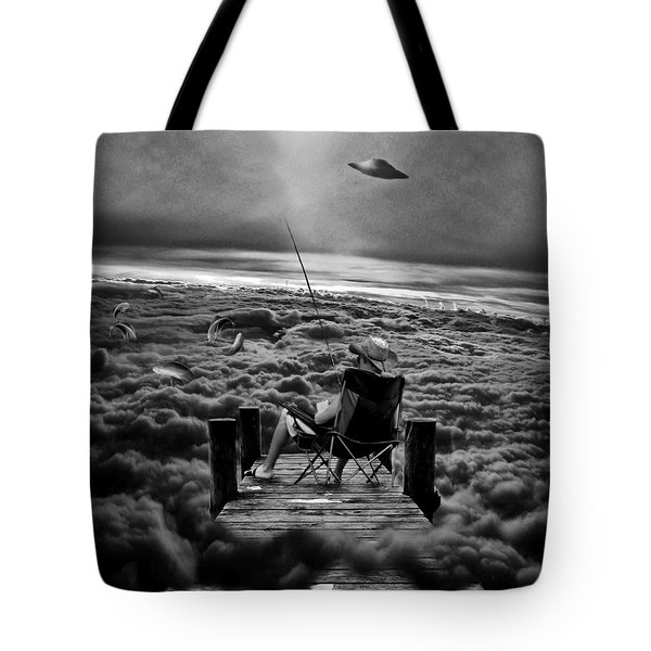 Fishing Above The Clouds Grayscale Tote Bag