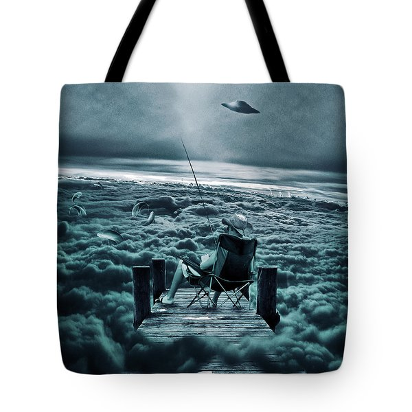 Fishing Above The Clouds Tote Bag