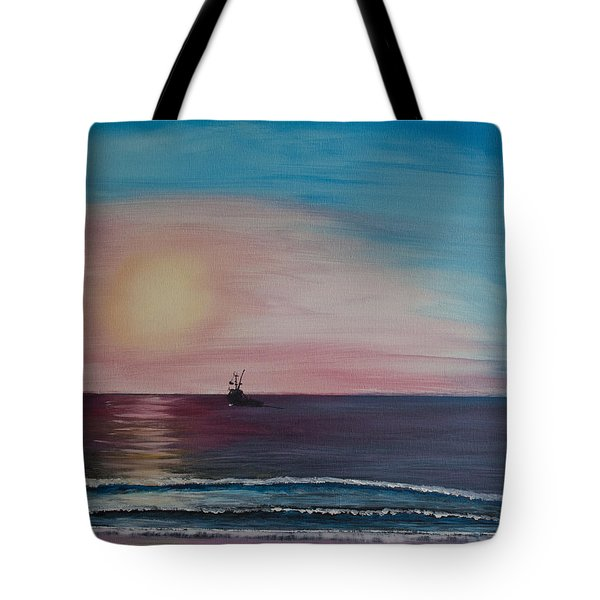 Tote Bag featuring the painting Fishing Alone At Night by Ian Donley