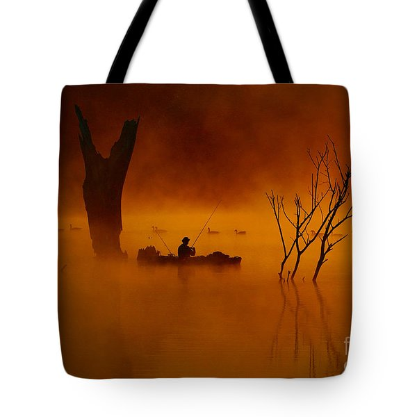 Fishing Among Nature Tote Bag by Elizabeth Winter