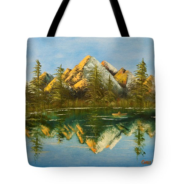 Tote Bag featuring the painting Fishing At Dusk by Chris Fraser
