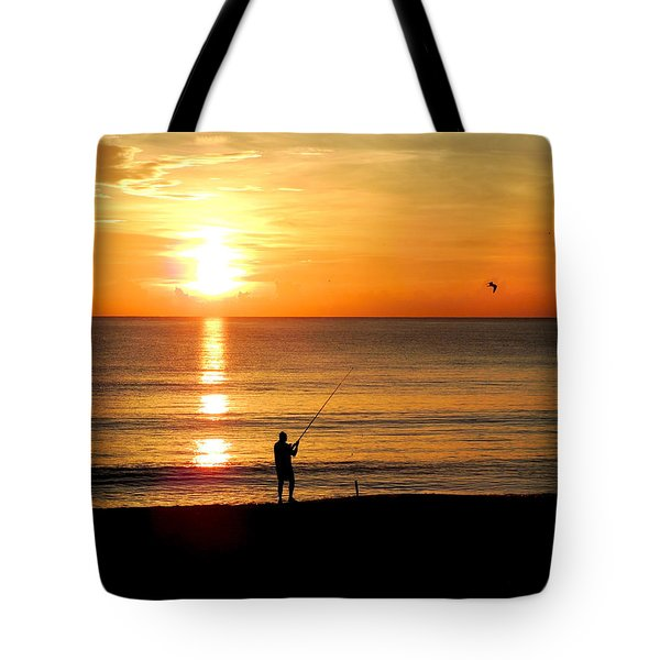 Fishing At Sunrise Tote Bag