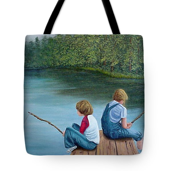 Fishing At The Lake Tote Bag