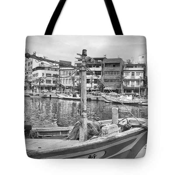 Fishing Boat B W Tote Bag