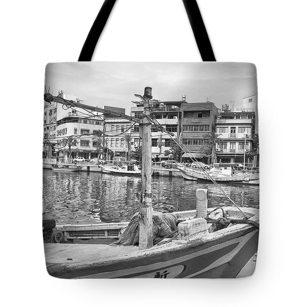 Fishing Boat B W Tote Bag