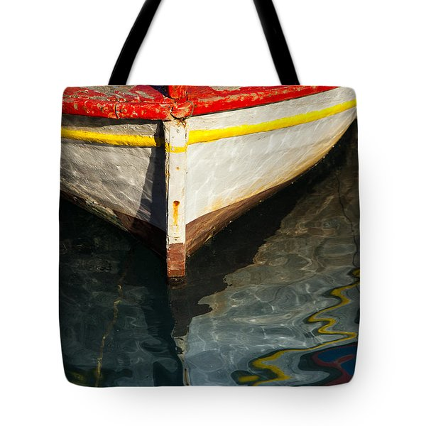 Fishing Boat In Greece Tote Bag by Mike Santis