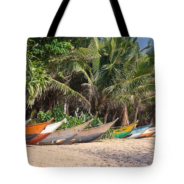 Fishing Boats B Mirissa Beach Tote Bag by Liz Leyden