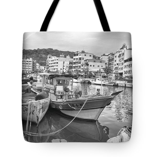 Fishing Boats B W Tote Bag