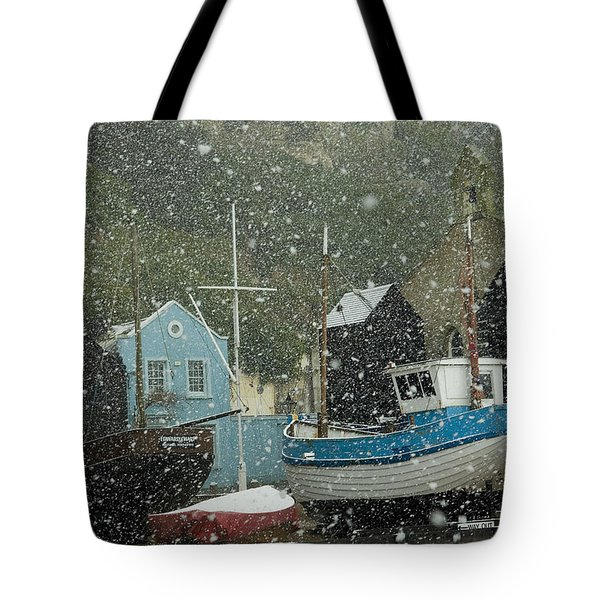 Fishing Boats Covered With Snow In Old Tote Bag by Chris Parker