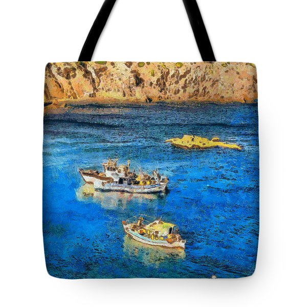 Fishing Boats Tote Bag by George Rossidis