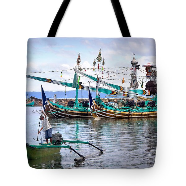 Fishing Boats In Bali Tote Bag by Louise Heusinkveld