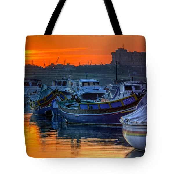 Fishing Boats In Birzebuggia Harbour Tote Bag