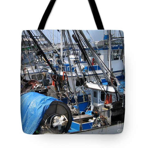 Fishing Boats In Monterey Harbor Tote Bag by James B Toy