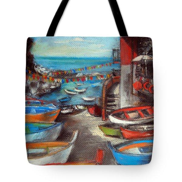 Fishing Boats In Riomaggiore Tote Bag
