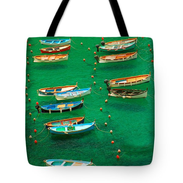 Fishing Boats In Vernazza Tote Bag by David Smith