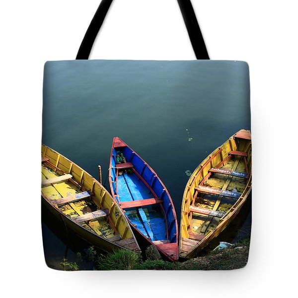 Fishing Boats - Nepal Tote Bag by Aidan Moran