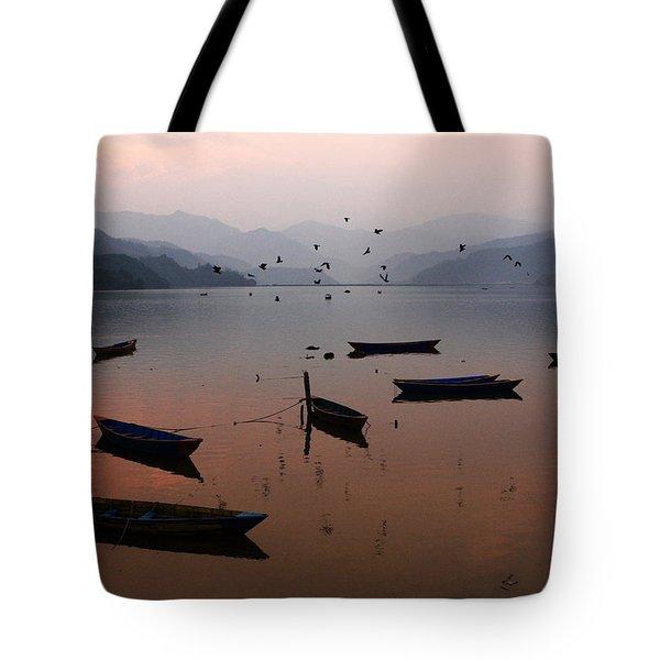 Fishing Boats - Phewa Lake - Nepal Tote Bag by Aidan Moran