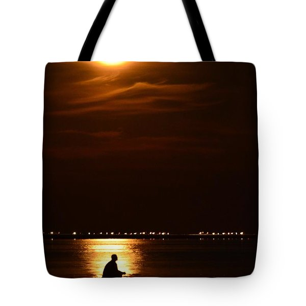 Fishing By Moonlight01 Tote Bag by Jeff at JSJ Photography