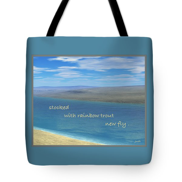 Tote Bag featuring the digital art Fishing Haiga by Judi Suni Hall