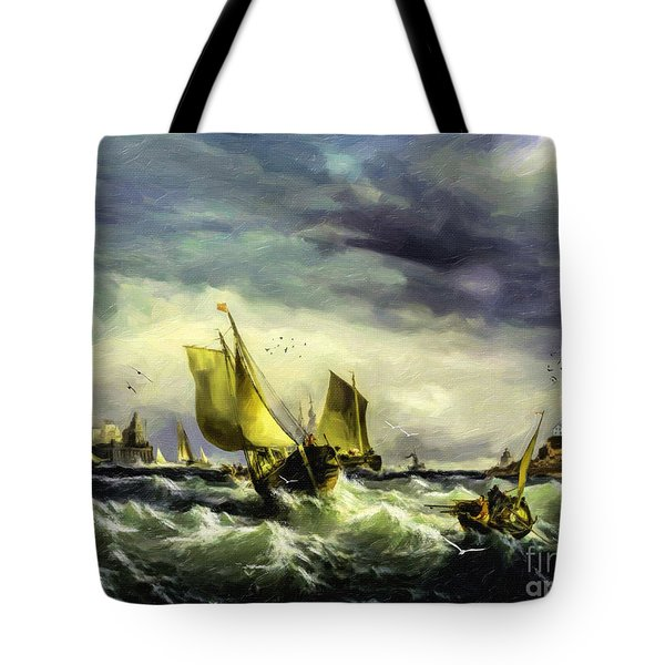 Tote Bag featuring the digital art Fishing In High Water by Lianne Schneider