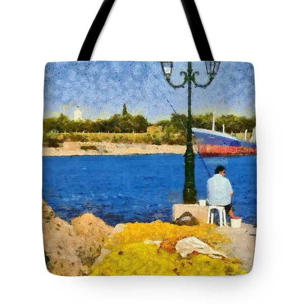Fishing In Spetses Island Tote Bag by George Atsametakis