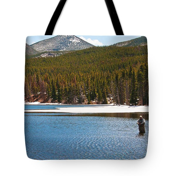 Tote Bag featuring the photograph Fishing In Winter by Mae Wertz