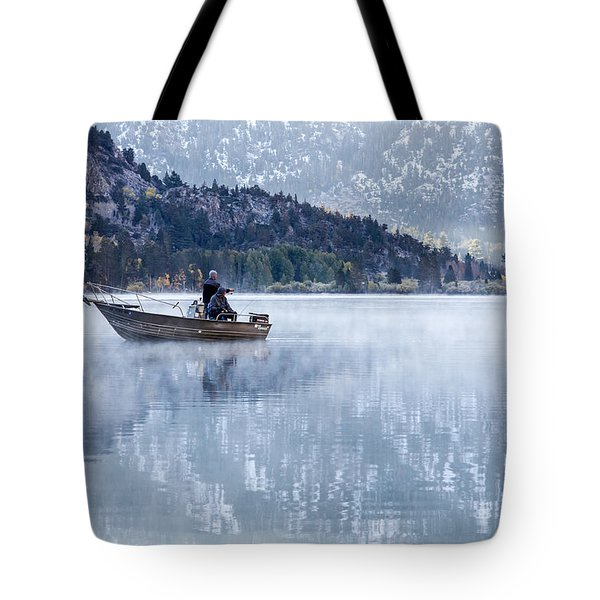 Fishing Into Silver Tote Bag