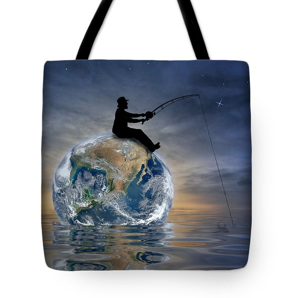 Fishing Is My World Tote Bag by Nina Bradica