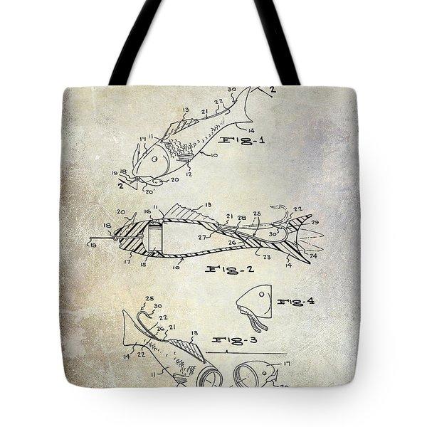 Fishing Lure Patent 1959 Tote Bag by Jon Neidert