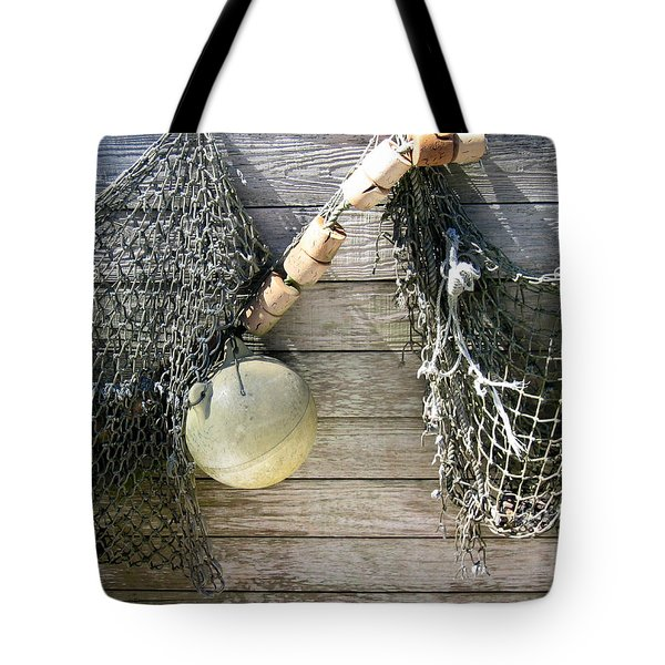 Tote Bag featuring the drawing Fishing Nets by Dianne Levy
