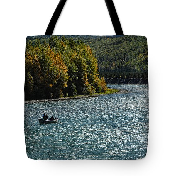 Fishing On The Kenai River Tote Bag by Dyle   Warren